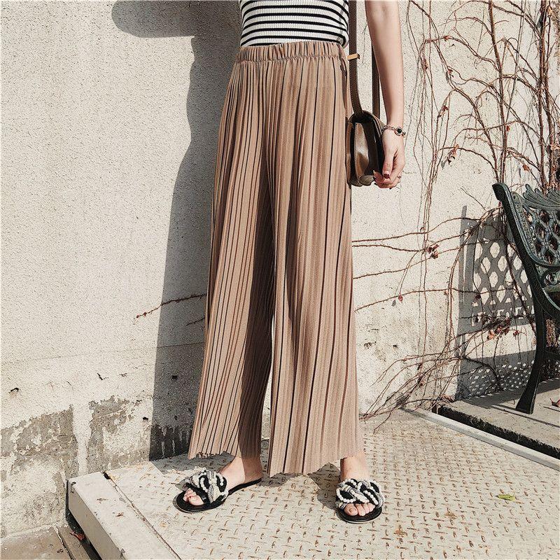 Nouveau taille haute femmes en mousseline de soie jambe Large pantalon solide couleur rides rayures verticales pantalons décontractés lâche grande taille Fmale pantalon