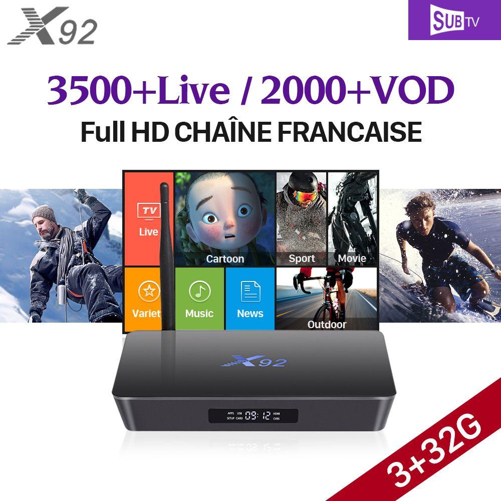 3GB 32GB X92 Android 7.1 Smart TV Box S912 SUBTV IPTV Subscription 3500 IPTV Europe Turkish EX-YU French Arabic IPTV STB Top Box