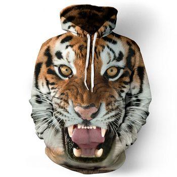 2017 Для мужчин толстовки в стиле хип-хоп Толстовка Смешные 3d тигр лев модный бренд большие размеры S-5xl Толстовка Для мужчин спортивный костюм...