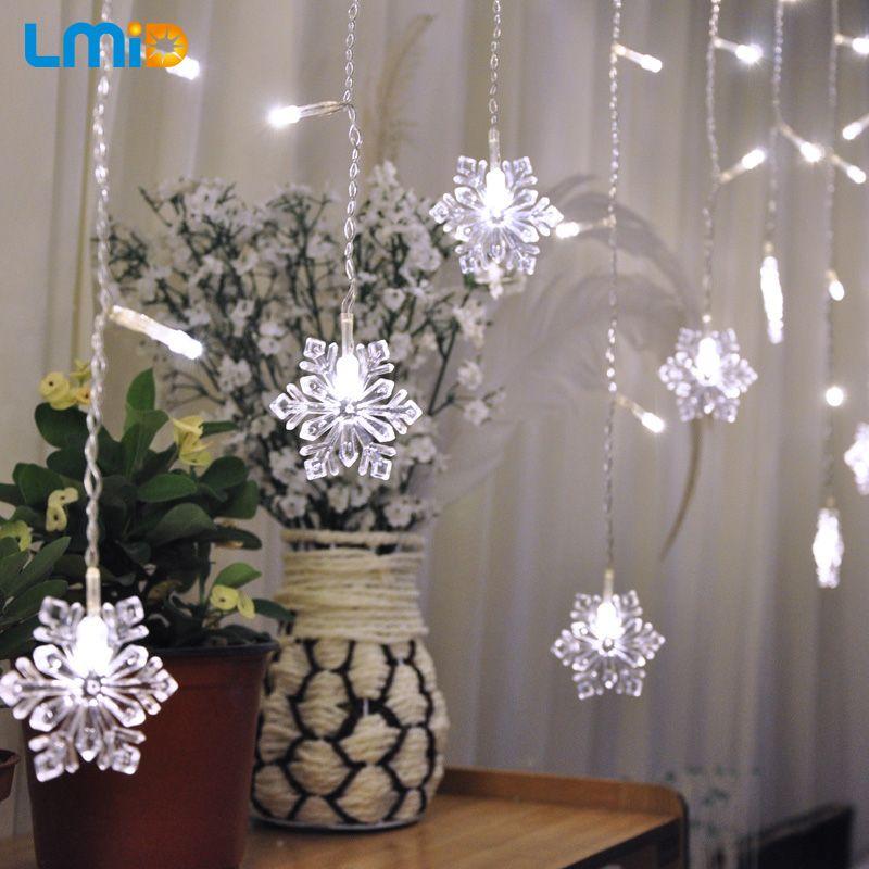 LMID 2 M * 0.6 M 60 Led del Copo de nieve del Árbol de Navidad Luces de Cortina Jardín de Casa Decoración de Navidad Guirnalda LED de Cadena Impermeable