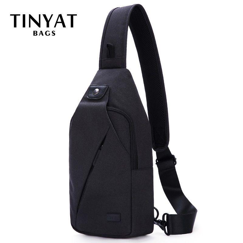 TINYAT sac à bandoulière pour 7.9 pad noir décontracté fonctionnel hommes sac de poitrine Pack double écouteur jack hommes épaule Messenger sacs Pack sac