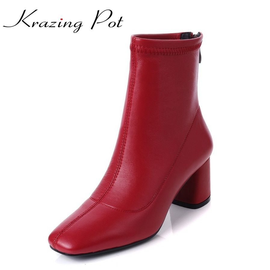 Krazing Pot 2018 genuine leather vintage square toe thick high heels solid women punk handsome superstar stretch ankle boots L13