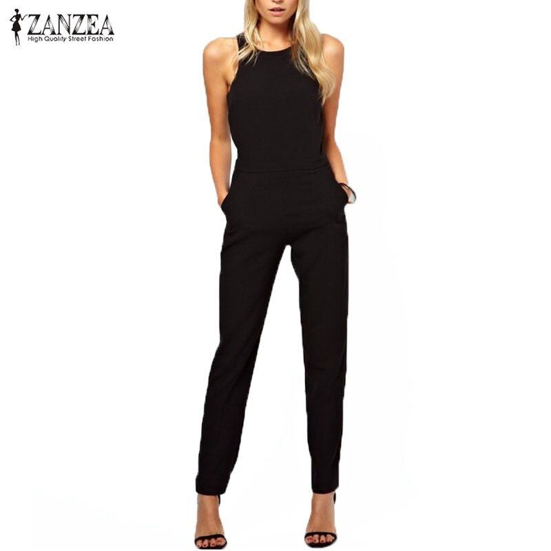 2016 Summer Rompers Womens Jumpsuit Sexy Ladies Casual Elegant Sleeveless Long Trousers Overalls Black Jumpsuit Plus Size