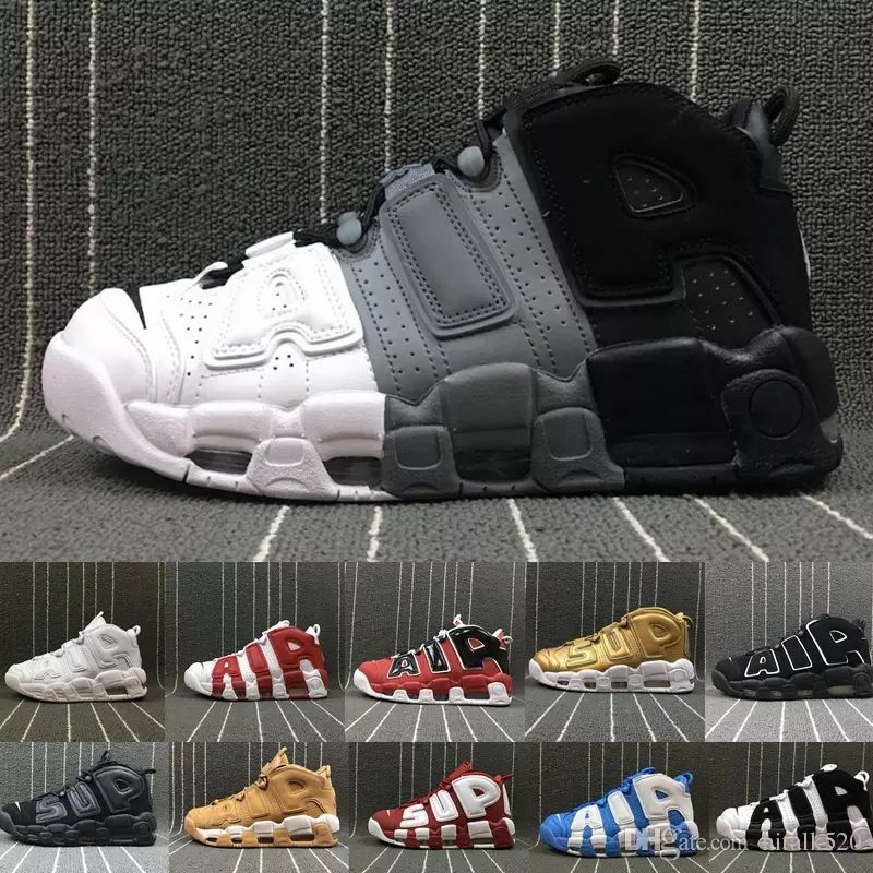 High Quality More Uptempo 96 QS Olympic Tri-Color UNC Air White Men Basketball Shoes Cheap 3M Mens Scottie Pippen shoes Sneakers