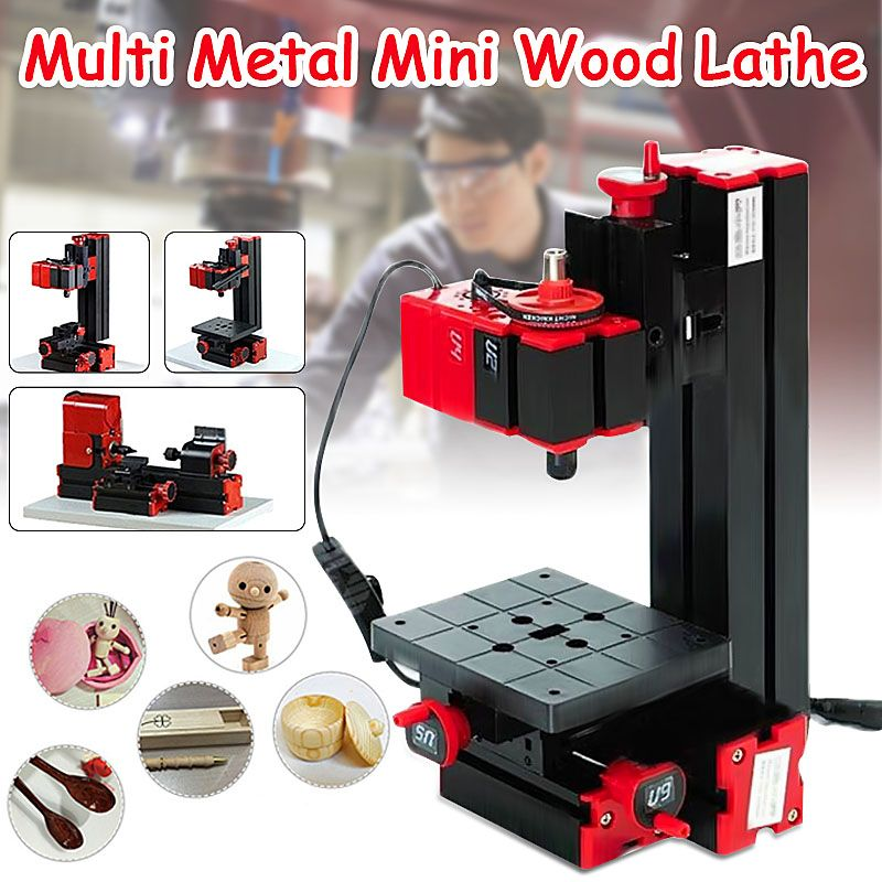 6 In 1 Multi Metal Mini Wood Lathe Motorized Jig-saw Grinder Driller Milling CNC Combined Machine DIY Tool