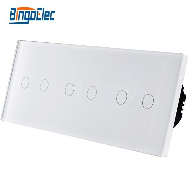 Hot Sale, 6gang 1way dimmer touch screen light switch, luxury glass panel wall switch,three color for choosing