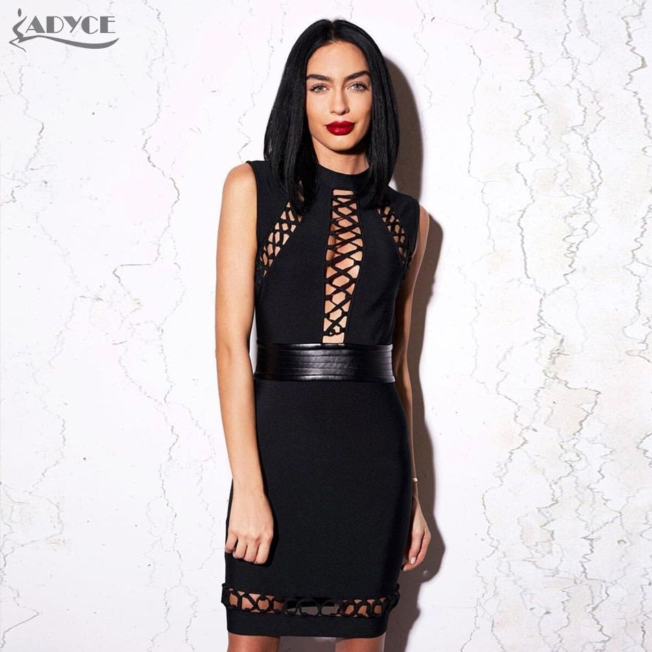 2017 New Winter Runway Dress women Black Bodycon Hollow Out tied Sleeveless PU patchwork Party Dress Celebrity Bandage Dress