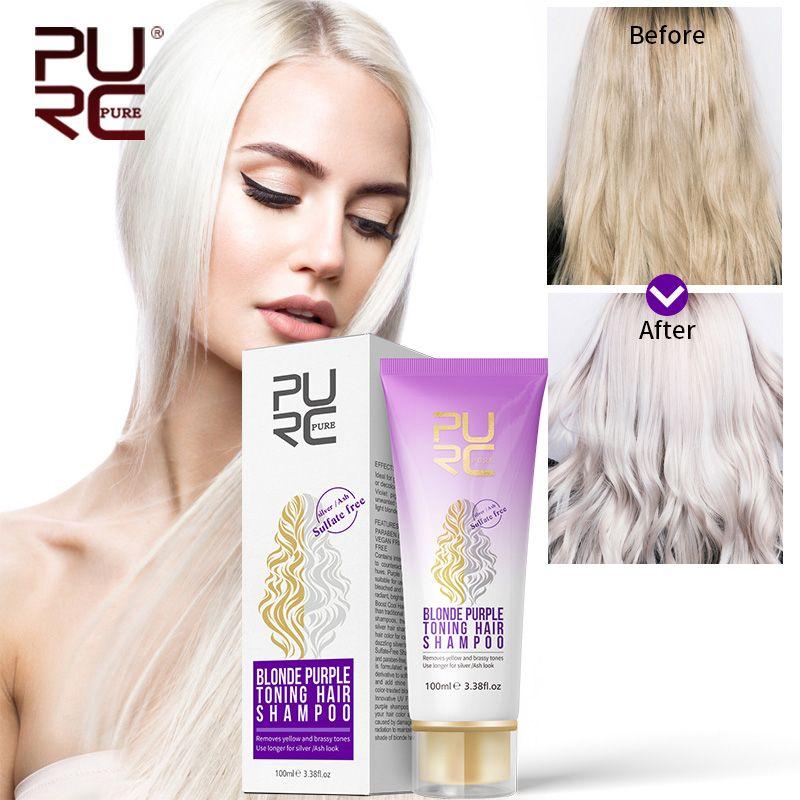 PURC nouveau shampooing violet 100ml pour cheveux blonds revitaliser les cheveux blonds blanchis et mis en évidence shampooing traité sans Sulfate de couleur