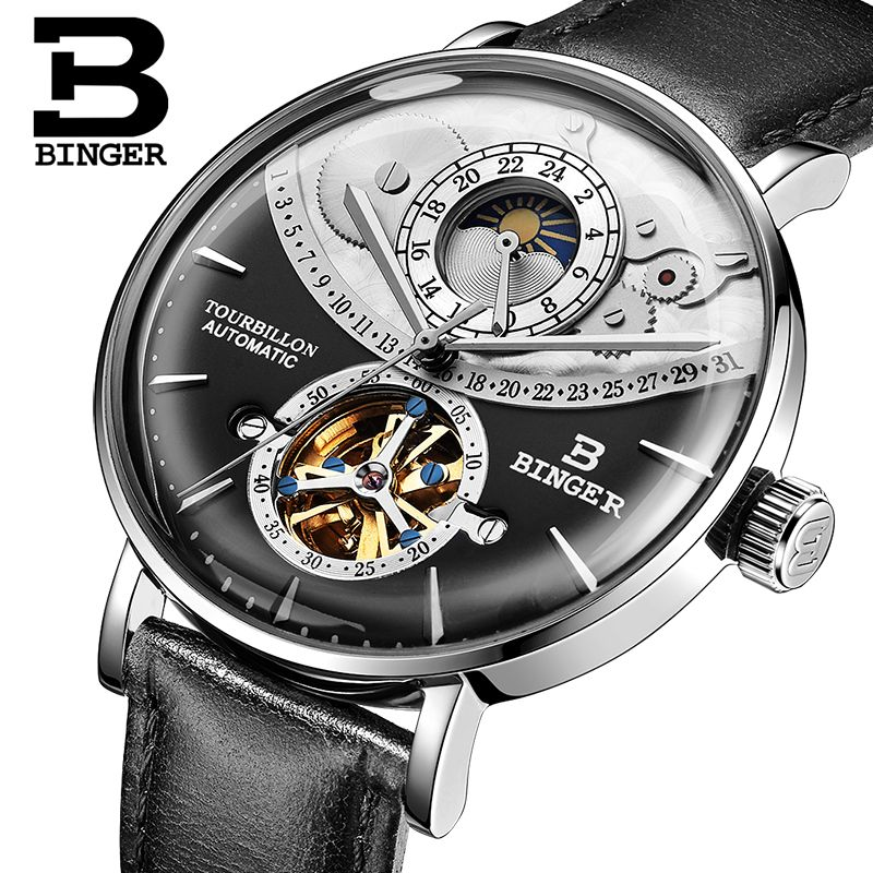 Switzerland Watch Men BINGER Automatic Mechanical Men Watches Luxury Brand Sapphire Relogio Masculino Waterproof Men Watch B-1-3