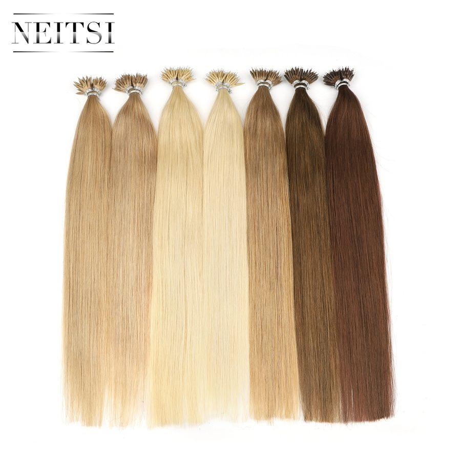 Neitsi Micro perles droites aucun Remy Nano anneau liens Extensions de cheveux humains 16