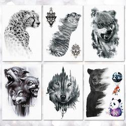 Impermeable tatuaje temporal pegatina Wolf Tiger patrón tatuaje body Art falso tatuaje para las mujeres hombres