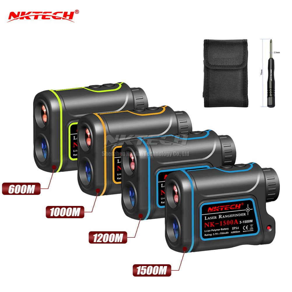 NKTECH Laser Rangefinder Distance Meter Hunting Golf 600m 1000m 1200m 1500m 4-IN-1 8X Telescope Speed Height Angle Distance Test