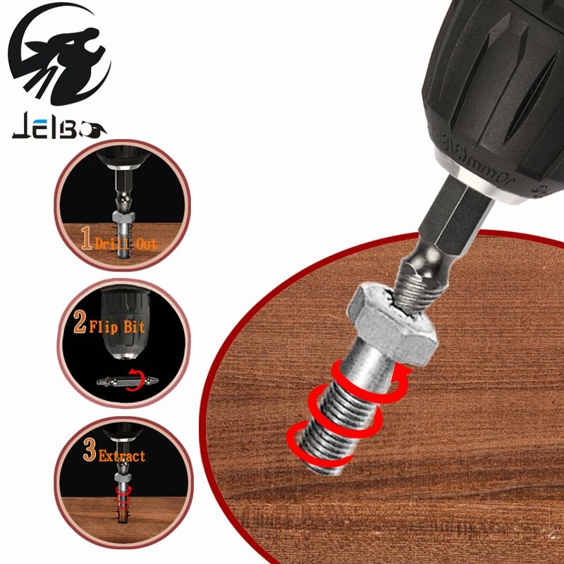Jelbo 4PC Drill Bit Power Tools Drill Bit Hand Tools Double Side Damaged Screw Extractor Drill Bits Set Tools Out Demolition