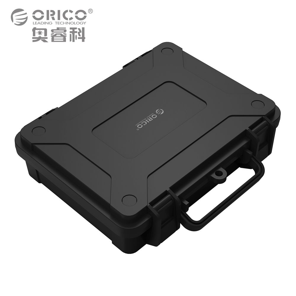 Black Protection and storage Box with EVA Sponge mat support 3.5inch Hard disk drive by Double Snap design