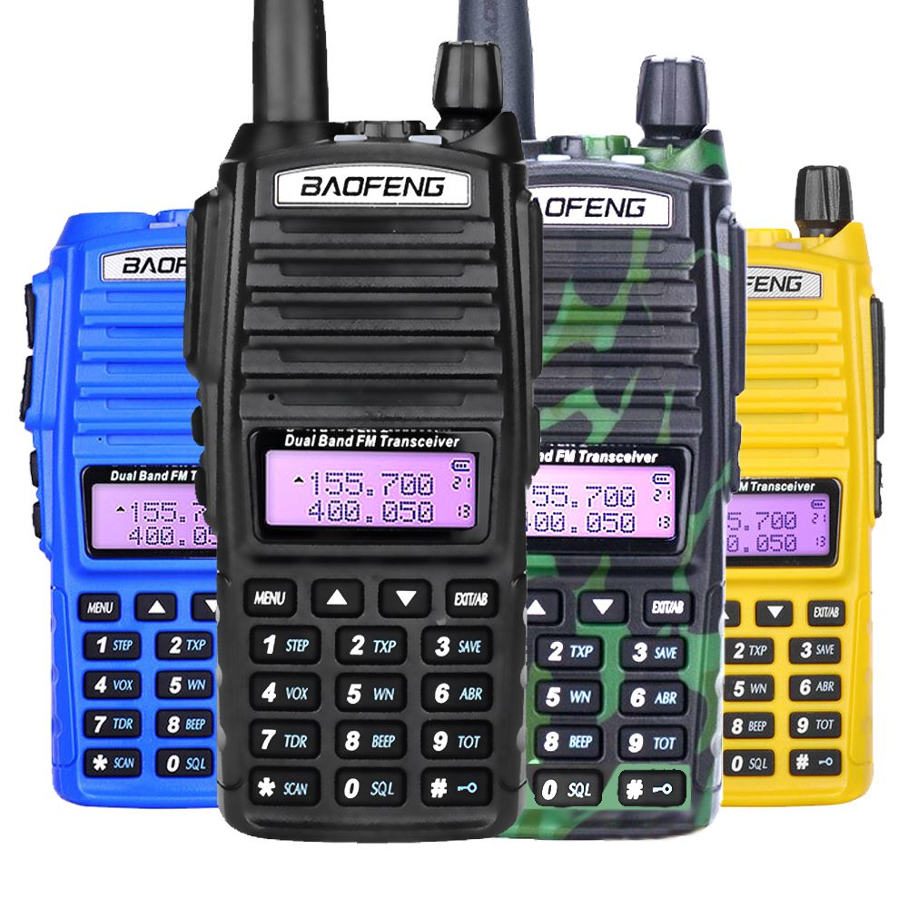 Baofeng UV-82 Talkie Walkie Double PTT UV 82 8D Portable Two way Radio VHF UHF Jambon CB Radio Station 1 pièces UV82 Chasse Émetteur-Récepteur