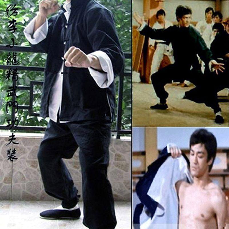 Herren Bruce Lee Klassische Tang anzüge Kung Fu Martial Arts Uniformen Set von 3 Wing Chun Outfit Uniform