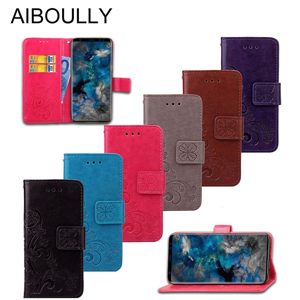 3D Leather Card Holder Stand Magnetic Flip Clover Wallet Cover For Samsung Galaxy S8 G950F G950FD G950U G950A G950R4 Phone Cases