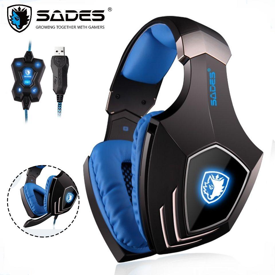 SADES A60 casque de jeu USB 7.1 son Surround jeu de Gamer casque fonction Vibration casque