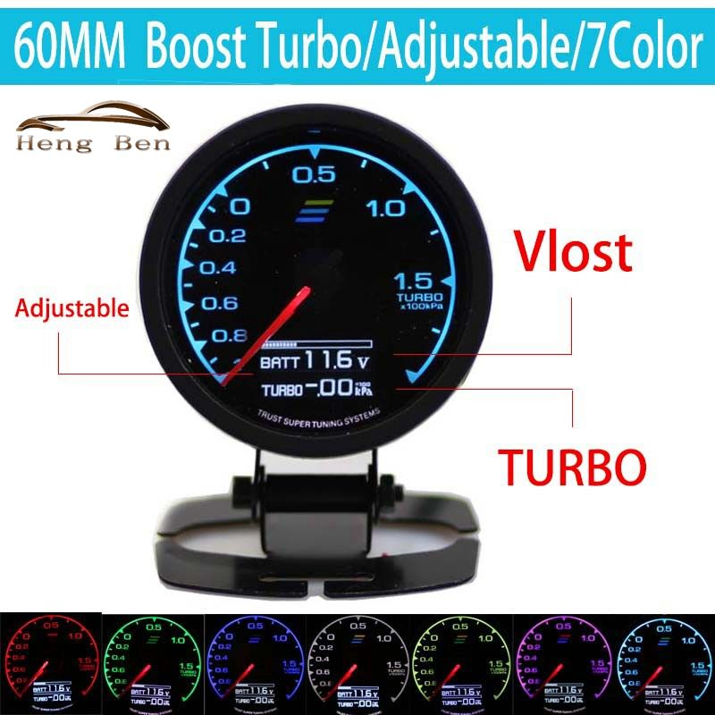 HB 7-Color-in- Gauge Turbo Boost Gauge GRedi 7 Light Colors LCD Display With Voltage Meter 60mm 2.5 Inch With Sensor Racing Gaug