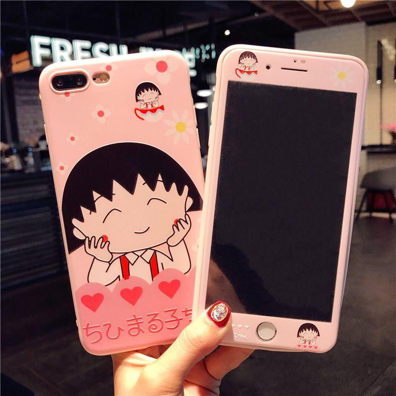 Für iphone 8 plus farbe film + fall Für iPhone 7/7 Plus/6 6 s plus Sakura Momoko Gehärtetem Glas cartoon mädchen rosa bildschirm