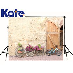 kate Photographic background Bicycle wheels basin Abstract brick wall doors summer fabricbackdrops baby kids 5x7ft