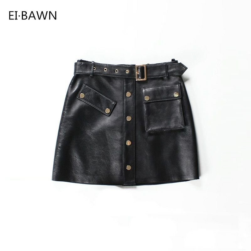 2018 Women Genuine Leather Skirts Mini Black Belt Streetwear Female Real Leather Sexy Skirts Autumn Winter Ladies Korean Skirts