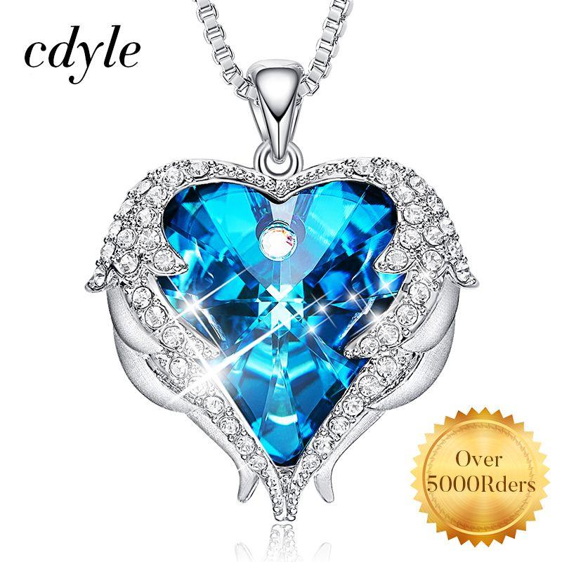 Cdyle Ange Ailes Collier crystaux de swarovski Colliers bijoux tendance Pour Femmes Coeur De Ange Cadeaux du Jour de Mère
