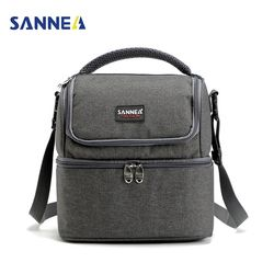 SANNE 7L Double Decker Cooler Lunch Bags Insulated Solid Thermal Lunchbox Food Picnic Bag Cooler Tote Handbags for Men Women
