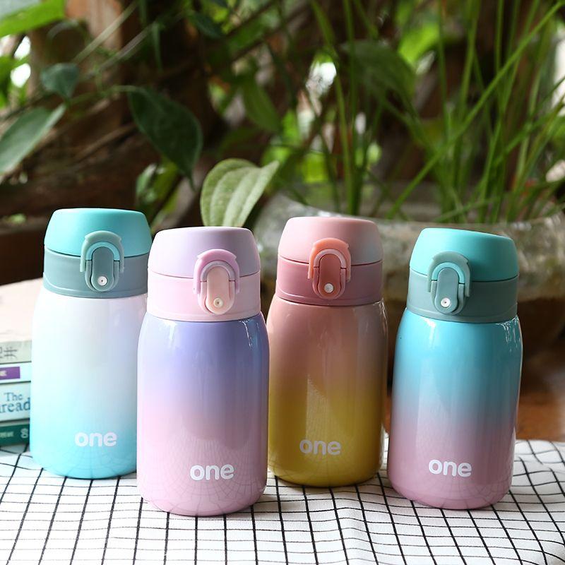 Dégradé de couleur bébé alimentation tasse en acier inoxydable lait Thermos pour enfants isolé bouillotte fuite-poof tasse thermique