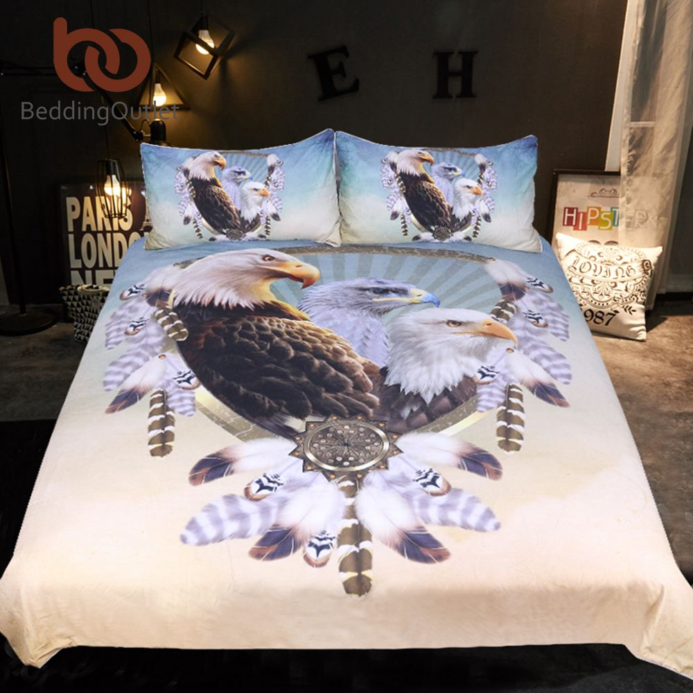 BeddingOutlet Three Eagles Bedding Set Queen Size Feathers Dreamcatcher Duvet Cover 3D Printed Bedclothes 3pcs Animal Bedspreads