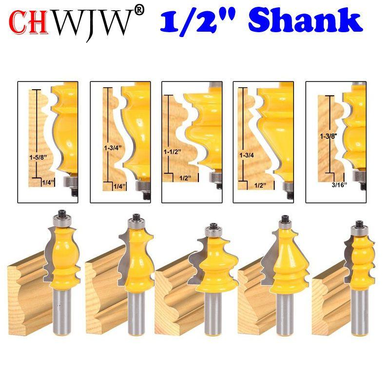 5 Bit Casing & Base Molding Router Bit Set - 1/2 Shank CNC Line knife Woodworking cutter Tenon Cutter for Woodworking Tools