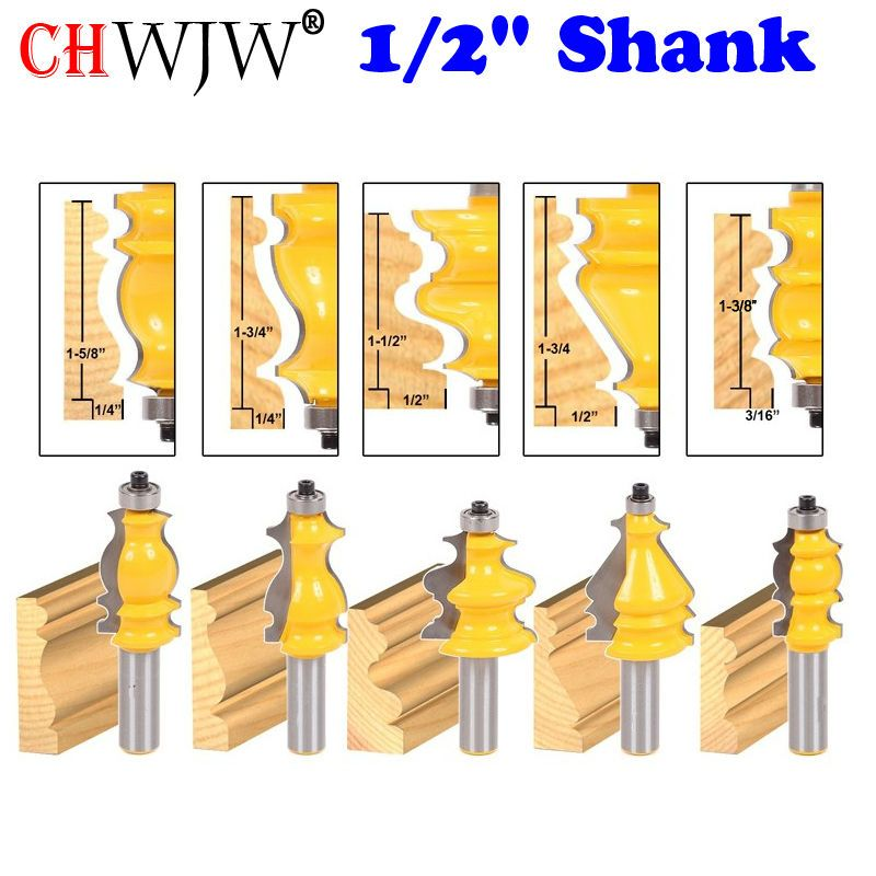5 Bit Casing & Base Molding Router Bit Set - 1/2 Shank CNC <font><b>Line</b></font> knife Woodworking cutter Tenon Cutter for Woodworking Tools