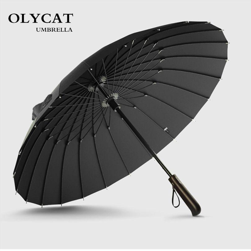 Offre spéciale marque Parapluie de pluie hommes qualité 24 K fort coupe-vent en fibre de verre cadre en bois Long poignée Parapluie femmes Parapluie