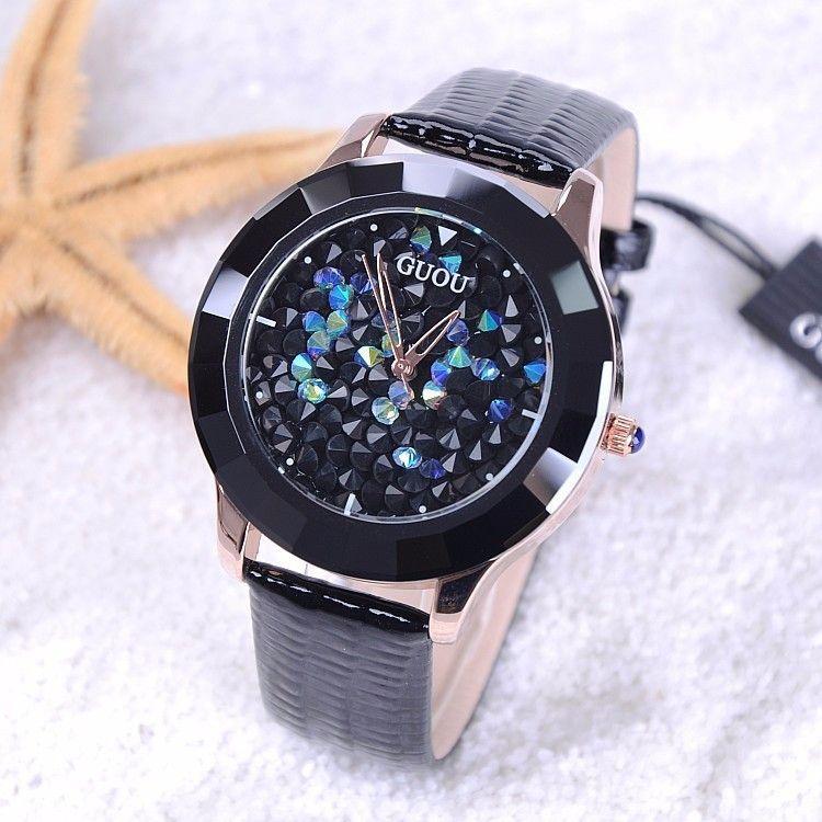 GUOU Часы Для женщин Роскошные модные со стразами женские часы кожа Diamond Часы Hour Clock Relogio feminino Reloj Mujer