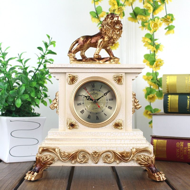 12 Inches Resin Table Clocks The Living Room Clock Mute Resin Modern Classical Lion Creative Personality Clock Home Decoration