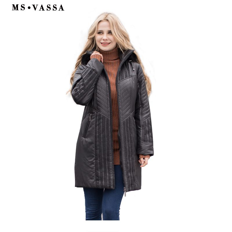MS VASSA <font><b>Women</b></font> Trench coats Autumn Winter Ladies Fashion coat detachable hood with fake fur plus size 4XL 6XL lace decoration