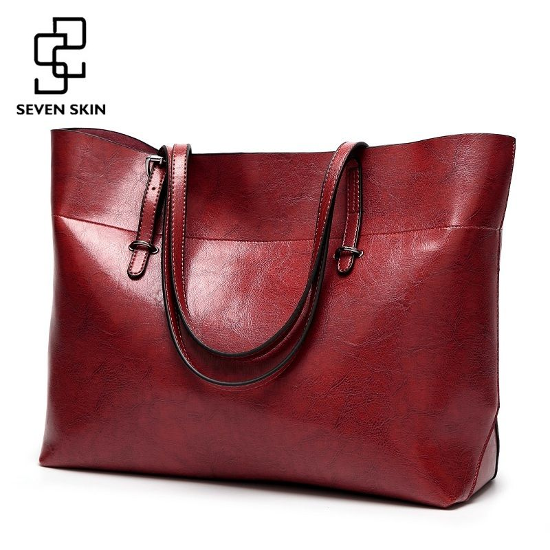 SEVEN SKIN Women Messenger Bags Large <font><b>Size</b></font> Female Casual Tote Bag Solid Leather Handbag Shoulder Bag Famous Brand Bolsa Feminina