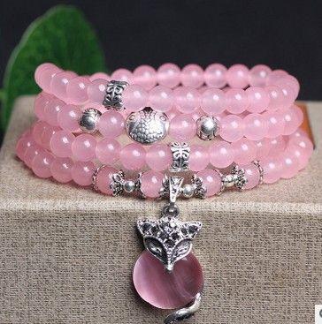 Nouveau rose 6mm cristal pierre 108 bouddhiste prière perles Bracelet argent plaqué renard pendentif pour femmes bijoux bracelets