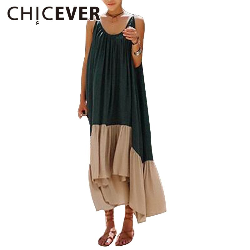 CHICEVER 2018 Summer Dress For Women Tunic <font><b>Hit</b></font> Colors Spaghetti Off Shoulder Long Sexy Women's Dresses Clothes Fashion Vestidos