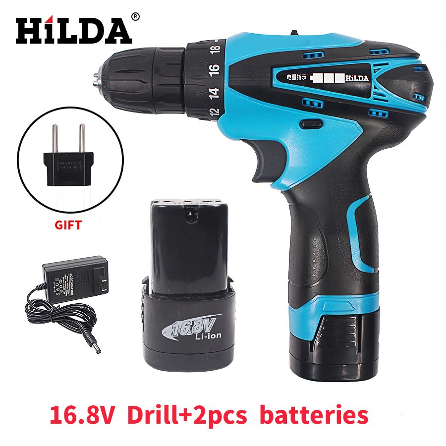 HILDA 16.8V Cordless Screwdriver Electric Drill Two-Speed Rechargeable <font><b>2pcs</b></font> Lithium Battery Waterproof Hand LED Light