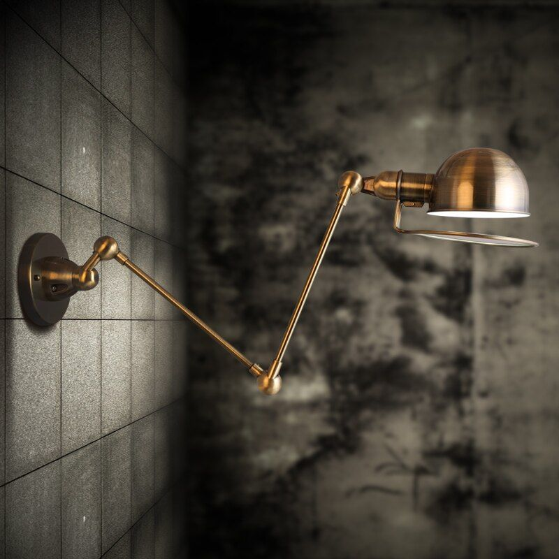 RH classic American country LOFT retro Metal study bedroom Industrial LED Vintage Wall Lamp Lighting Bedside wall Light for home
