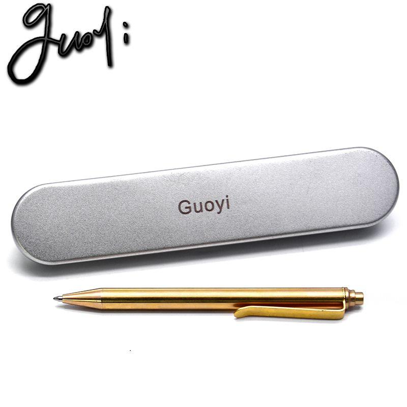Guoyi Y088 nouveau stylo à bille en cuivre bureau d'apprentissage pour l'école papeterie cadeau stylo de luxe hôtel entreprise stylo d'écriture recharge