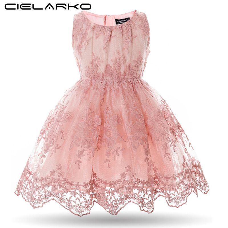 Cielarko Filles Robe Fantaisie Enfants Dentelle Robes Fleur Maille Robes De Mariage des Enfants Formelle De Bal Robes Bébé Robes pour Fille