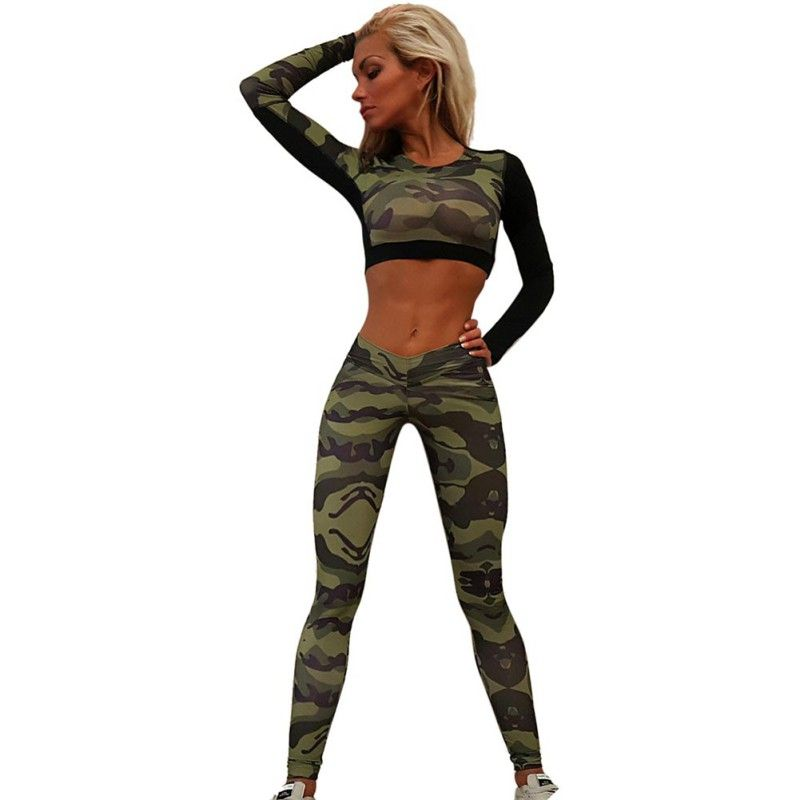2017 Women's Summer Tracksuit  Short  Waist Round Neck Camouflage Character  Wild Tops Shirt  Pants Costume Set Pants Suits