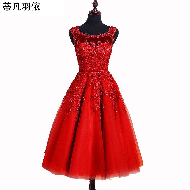 En stock corto Vestidos de baile original foto real vestido a-line sin mangas Encaje apliques rebordear banquete partido vestido de noche
