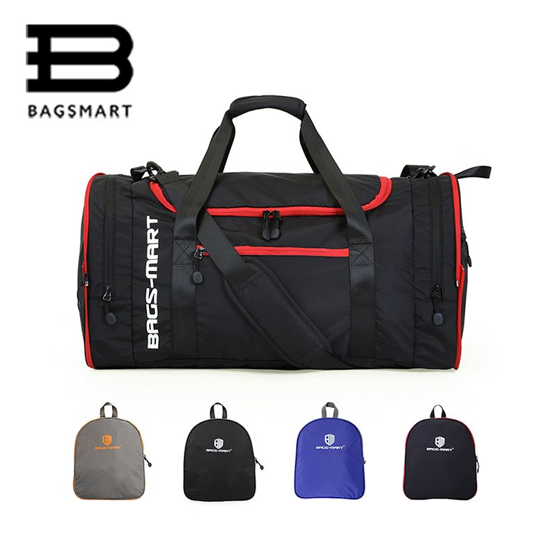 BAGSMART Men Travel Bag Folding Bag Protable Molle Women Tote Waterproof Nylon Casual Travel Duffel Bag Black Luggage Travel Bag
