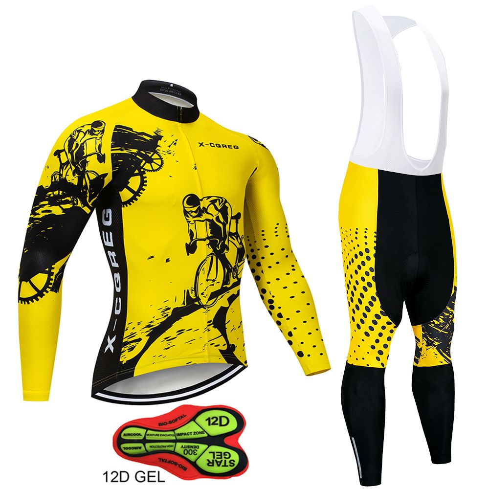 Long Sleeve Cycling Jerseys 12D Padded Spring MTB Bicycle Clothes Ropa Maillot Ciclismo Racing Bike Wear Cycling Clothing