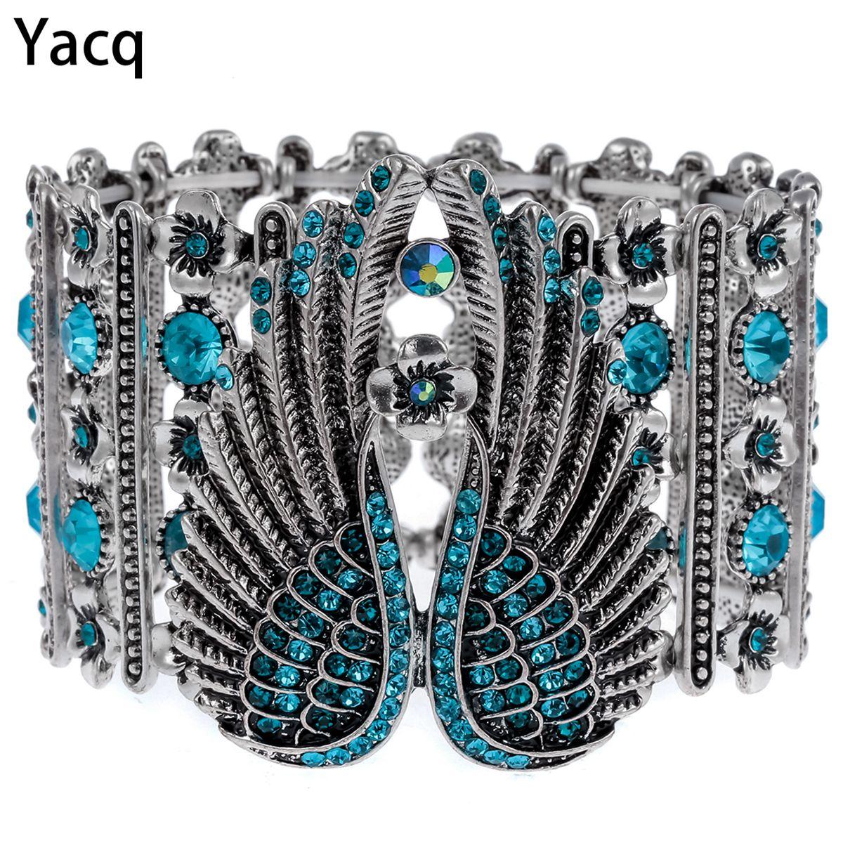 YACQ Ange Gardien Ailes Extensible Bracelet Manchette pour Les Femmes Motard Punk Cristal Bijoux Cadeau Couleur Argent Antique Dropshipping D05