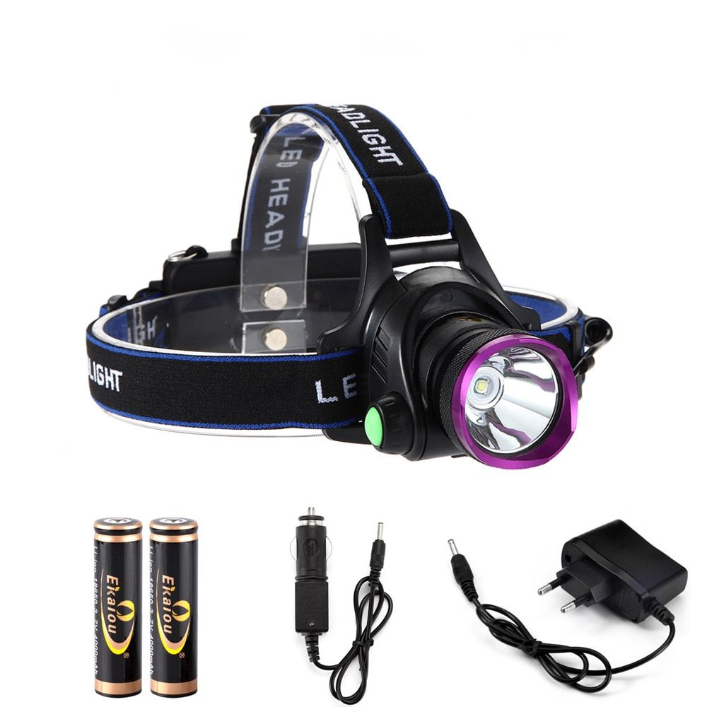 6000 Lumens XM-L XML T6 LED Phare de Lampe-Torche Chef Lampe + 2*18650 batterie + chargeur + Chargeur de voiture