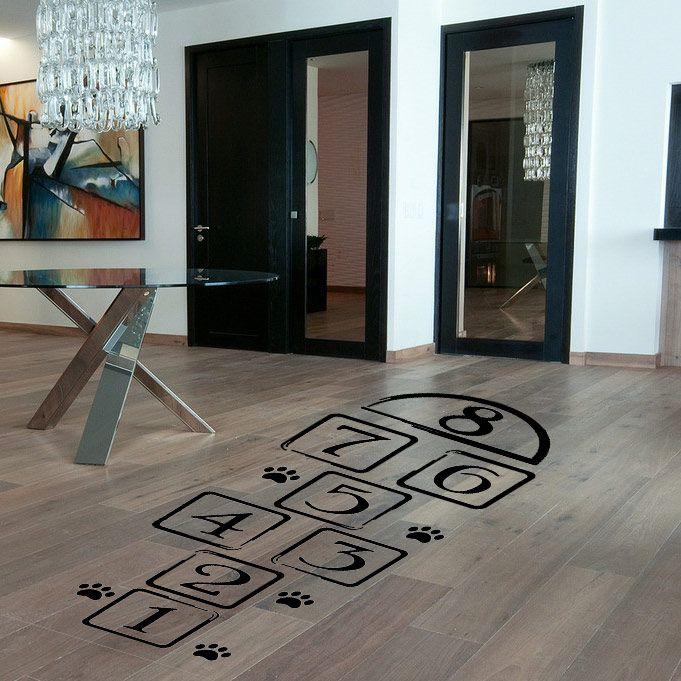 Promotion marelle stickers muraux art mural créatif jeux pour enfants autocollant maison décalcomanie amovible chambre décoration
